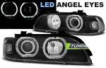 Paire de feux phares BMW serie 5 E39 95-00 angel eyes led noir