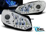 Paire de feux phares VW Golf 6 08-12 Daylight DRL led chrome