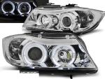 Paire de feux phares BMW serie 3 E90 / E91 05-08 angel eyes chrome