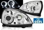 Paire de feux phares Renault Clio 2 01-05 angel eyes CCFL chrome