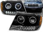 Paire de feux phares Jeep Grand Cherokee 99-05 angel eyes noir