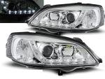 Paire de feux phares Opel Astra G 97-04 Daylight led chrome