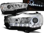 Paire de feux phares Mitsubishi Lancer 8 08-16 Angel Eyes led chrome