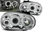 Paire de feux phares VW Golf 4 97-03 angel eyes chrome
