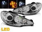 Paire de feux phares Peugeot 206 02-06 Daylight LED chrome