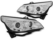 Paire de feux phares BMW serie 5 E60 / E61 03-07 angel eyes CCFL chrome led (MH8)