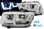 Paire de feux phares Dodge Charger LX 2 11-15 led U-type chrome
