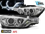 Paire de feux phares BMW F30/F31 11-15 Angel eyes Led Chrome HID DRL AFS