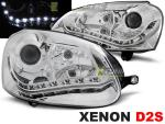 Paire de feux phares VW Golf 5 03-08 Xenon Daylight led chrome