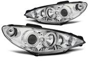 Paire de feux phares Peugeot 206 02-06 angel eyes CCFL chrome (E29)