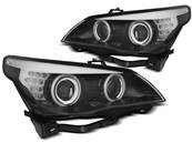 Paire de feux phares BMW serie 5 E60 / E61 03-07 angel eyes CCFL noir led (MH9)