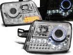 Paire de feux phares Fiat Panda 03-08 Daylight led chrome cligno led