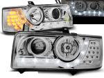 Paire de feux phares VW T4 Transporter 90-03 Daylight led chrome