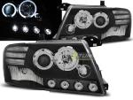 Paire de feux phares Mitsubishi Pajero 01-06 angel eyes LED noir