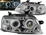 Paire de feux phares Chevrolet Aveo 03-06 angel eyes chrome