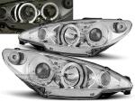 Paire de feux phares Peugeot 206 02-06 angel eyes chrome