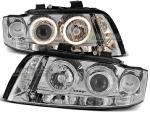 Paire de feux phares Audi A4 00-04 angel eyes chrome