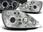 Paire de feux phares Ford Fiesta MK6 02-05 angel eyes chrome