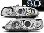 Paire de feux phares Honda Civic 91-95 2 et 3 portes angel eyes chrome
