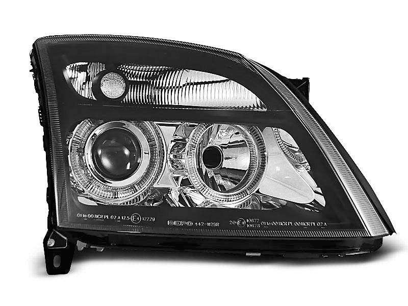I08 Paire de feux phares Citroen C2 03-10 angel eyes noir